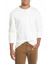 Billy Reid | Natural 'hunter' Textured Long Sleeve Henley for Men | Lyst