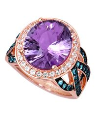 Le Vian | 14 Kt. Strawberry Gold Pink Amethyst And Blue Topaz Ring | Lyst