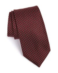 BOSS - Red Geometric Silk Tie for Men - Lyst