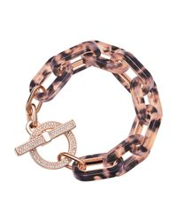 Michael Kors - Pink Tortoise Link Pave Toggle Bracelet - Lyst