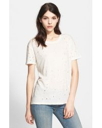 IRO | Natural 'clay' Punctured Linen Tee | Lyst