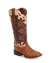 Lucchese | Brown Sienna Ostrich Western Boots | Lyst