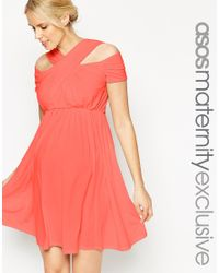 ASOS | Pink Maternity Skater Dress With Cross Over Cut Out Neck | Lyst