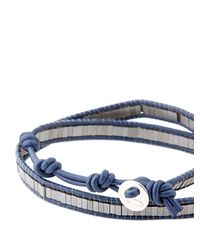 Colana | Blue Leather Wrap Bracelet W/ Silver Hematite | Lyst
