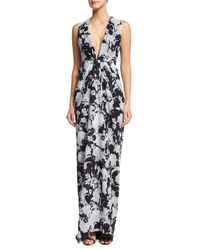 Thakoon - Black Sleeveless Plunging Floral-print Gown - Lyst