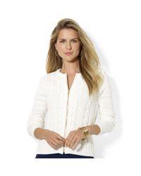 Lauren by Ralph Lauren | White Zip-front Cable-knit Cardigan | Lyst