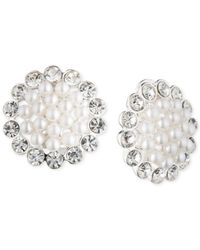 Anne Klein | Metallic Silver-plated White Fau Pearl And Crystal Earrings | Lyst