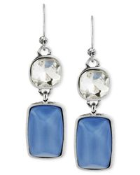 Kenneth Cole - New York Silver-Tone Blue Faceted Stone And Crystal Double Drop Earrings - Lyst