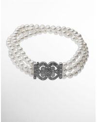 Lord & Taylor | White Pearl Bracelet With Diamonds In Sterling Silver 0.15 Ct. T.w. | Lyst