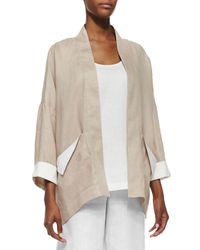 Go> By Go Silk - Natural Dropped-Shoulder Linen Jacket - Lyst