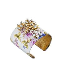 Betsey Johnson | White Vintage Crystal Flower Fab Cuff Bracelet | Lyst