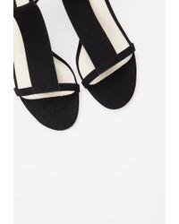 Forever 21 - Black Faux Suede T-strap Sandals - Lyst
