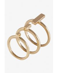 French Connection - Metallic Perpendicular Bar Ring Set - Lyst