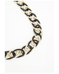 Missguided - Metal Contrast Chunky Chain Necklace Black - Lyst