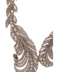 Oscar de la Renta - Metallic Feather Crystal Necklace - Lyst
