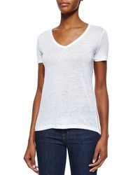 Neiman Marcus - White Short-sleeve V-neck Linen Top - Lyst