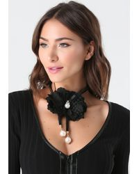 Bebe - Black Rosette Lariat Necklace - Lyst