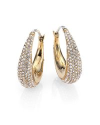 Michael Kors | Metallic Brilliance Statement Pavé Goldtone Huggie Hoop Earrings/0.9 | Lyst