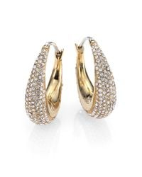 Michael Kors - Metallic Brilliance Statement Pavé Goldtone Huggie Hoop Earrings/0.9 - Lyst