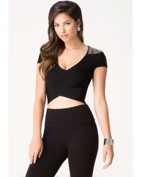 Bebe | Black Beaded Shoulder Bandage Top | Lyst