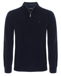 Hackett | Blue Half Zip Wool Jumper for Men | Lyst