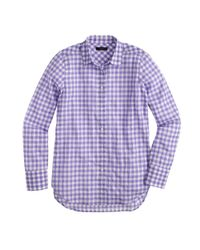 J.Crew | Purple Petite Boy Shirt In Crinkle Gingham | Lyst