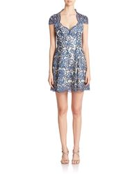 Notte by Marchesa | Blue Embroidered Empire-waist Dress | Lyst
