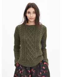 Banana Republic | Green Chunky Cable-knit Sweater Pullover | Lyst