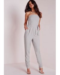 Missguided | Gray D Ring Bandeau Jumpsuit Grey | Lyst
