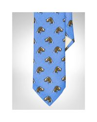 Polo Ralph Lauren | Blue Dog-print Linen Narrow Tie for Men | Lyst
