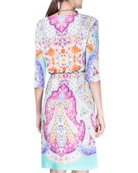 Etro - Blue Half-sleeve Paisley-print Tunic Dress - Lyst