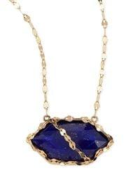 Lana Jewelry | Metallic Splash Lapis Hexagon Necklace | Lyst