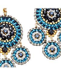Miguel Ases Blue Miyuki Bead Chandelier Earrings