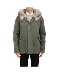 Mr & Mrs Italy - Green Fur-lined Canvas Mini-parka for Men - Lyst
