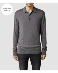 AllSaints | Gray Mode Merino Long Sleeved Polo for Men | Lyst