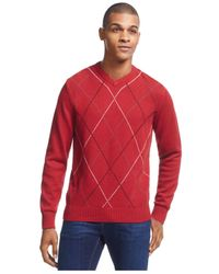 Geoffrey Beene | Red Big And Tall Harlequin Sweater for Men | Lyst