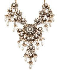 Forever 21 - Metallic Faux Pearl Rhinestone Statement Necklace - Lyst
