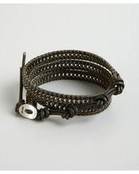 Chan Luu | Green Olive and Silver Chain and Leather Wrap Bracelet for Men | Lyst