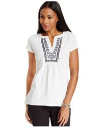 Style & Co. - Black Short Sleeve Peasant Top - Lyst