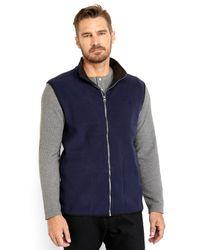 Izod - Blue Embroidered Logo Fleece Vest for Men - Lyst