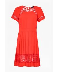 French Connection | Red Arrow Lace Pleated Dress | Lyst