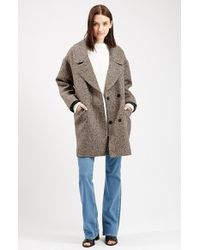 TOPSHOP - Natural 'amelia' Slouch Coat - Lyst