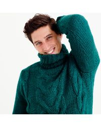 J.Crew | Green Italian Wool Cable Turtleneck Sweater for Men | Lyst