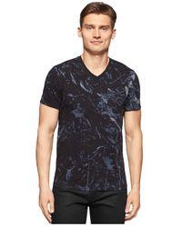 Calvin Klein | Black Ck One Marble-print V-neck T-shirt for Men | Lyst