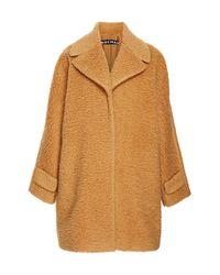 Rochas | Brown Peluche Wool Oversize Camel Coat | Lyst