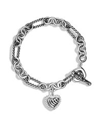 David Yurman | Metallic Cable Heart Charm Bracelet With Diamonds | Lyst