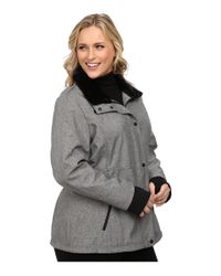Jessica Simpson - Gray Plus Size Zip Front Soft Shell With Faux Fur - Lyst
