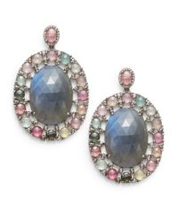Bavna | Multicolor Diamond, Tourmaline, Labradorite & Sterling Silver Oval Drop Earrings | Lyst