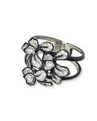 Kenneth Jay Lane | Metallic Crystal Flower Cuff | Lyst