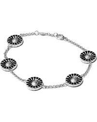 Georg Jensen - Metallic Daisy Rhodinated Sterling Silver With Enamel Bracelet - Lyst